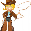 Blond cowgirl with Lasso — Stock Vector
