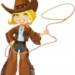 Stock Vector: Blond cowgirl with Lasso