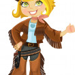 Cowgirl with colt - Stock Vector