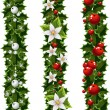 Green Christmas garlands of holly and mistletoe — Cтоковый вектор