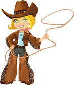 Blond cowgirl with Lasso — Stok Vektör