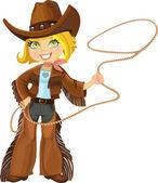 Kement ile sarışın cowgirl — Stok Vektör
