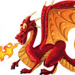 Royalty-Free Stock Vector Image: Fabulous magical red fire-spitting dragon
