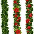 Stock Vector: Green Christmas garlands of holly