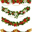 Green Christmas garlands of holly and mistletoe and bow — Vector de stock #8083428