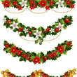 Green Christmas garlands of holly and mistletoe and bow - Stock Vector