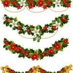 绿色圣诞花环的冬青和槲寄生和弓 — 图库矢量图片