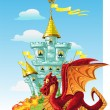 Stock Vector: Magical fairytale red Dragon near the blue magic castle