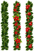 Green Christmas garlands of holly — Stock Vector