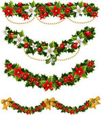 Green Christmas garlands of holly and mistletoe and bow — Stock Vector