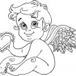 Cute little cupid with Valentine, black outline for coloring — Vektorgrafik