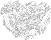 Mooie opengewerkte hart van bloemen. valentine — Stockvector