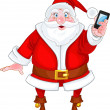 Santa Claus with a smart phone — Stock Vector