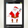 Royalty-Free Stock Vector Image: Smart phone with Santa Claus with a smart phone
