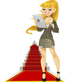 Cute girl with laptop on success ladder — Stock Vector