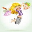 Cute blond girl shopaholic with shopping bags — Stock Vector
