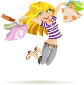 Cute blond girl shopaholic with shopping bags isolated on white background — Stock Vector