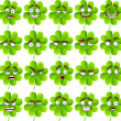 Vector cute cartoon four-leaf clover with many expressions — Stock Vector
