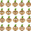 Vector cute cartoon onion smile with many expressions — Stock Vector