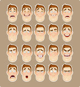 A young man emotions - joy, sadness, hurt, shock, joy, inspiration icon — Vector de stock