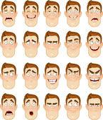 A young man emotions - joy, sadness, hurt, shock, joy, inspiration — Stock Vector