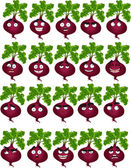 Vector cute cartoon beetroot smile with many expressions — Stock Vector