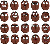 Vector cute cartoon coffee bean smile with many expressions — Stock Vector