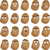 Vector cute cartoon potatoes smile with many expressions — Vector de stock