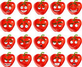 Vector cute cartoon red Bulgarian pepper smile with many expressions — Stock Vector