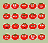 Vector cute cartoon tomato smile with many expressions icons — Stock Vector