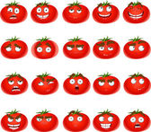 Vector cute cartoon tomato smile with many expressions — Stock Vector