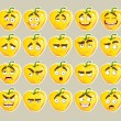 Vector  cartoon yellow Bulgarian pepper smile with many expressions - Stok Vektr