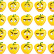 Cartoon yellow Bulgarian pepper smile with many expressions — Stock Vector