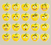 Vector cartoon yellow Bulgarian pepper smile with many expressions — Stock Vector