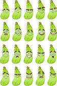 Cartoon squash smile with many expressions — Stock Vector