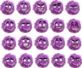 Cartoon purple cabbage smile with many expressions — Stock Vector
