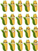 Cute cartoon maize smile with many expressions — Stock Vector
