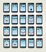 Set of smiles phones with different emotions — Stock Vector