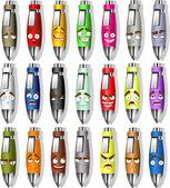 Set of color souvenir smiles pens — Stock Vector