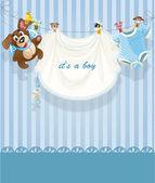 Baby boy blue openwork announcement card — Stock Vector