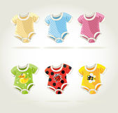 Cute colorful costumes for babies with fun prints — Stock Vector