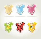Carini costumi colorati per bambini con divertenti stampe — Vettoriale Stock