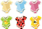 Cute colorful costumes for babies — Stock Vector