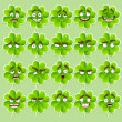 Stock Vector: Vector cute cartoon four-leaf clover with many expressions