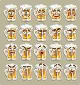 Cute series of smiles beer stickers — Stock Vector