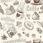 Seamless pattern with coffee cakes pies latte and cappuccino — Wektor stockowy