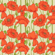Big seamless pattern of red poppies — Stock Vector #9667814