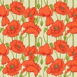 Big seamless pattern of red poppies — Stock Vector