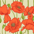 Seamless pattern of red poppies — Vector de stock