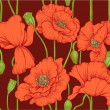 Seamless pattern of red poppies on dark background — Stock Vector